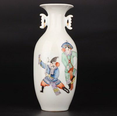 Vintage Chinese Porcelain Vases Hand-Painted Official Mascots Adorn Gift