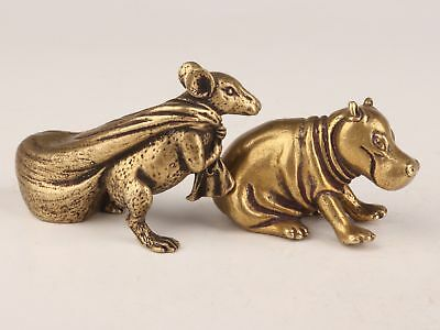 Gift 2 Brass Casting Solid Mouse Money Bag Hippo Statue Good Luck