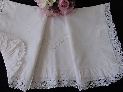 Antique Vintage Victorian French Chateau Romantic Frilled Large Pillowcase