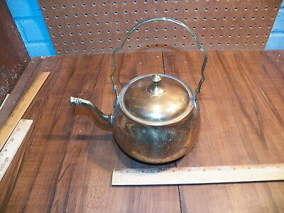 Vintage Etched Brass Teapot Kettle