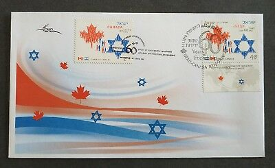 Israel 2010 Canada  Israel Joint Issue, 60 Years Friendship ,fdc
