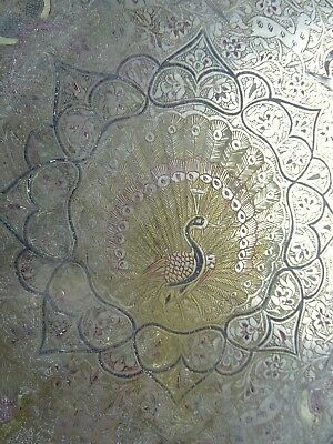 Vintage Traditional White Brass Etched & Enamelled Indian peacock tray India