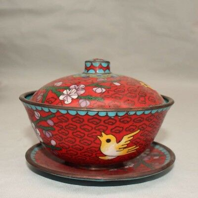 Chinese Antique Cloisonne hand-made tea bowl cup