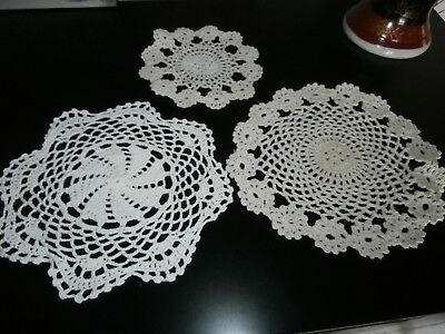 Three Vintage White & Ivory Cotton Hand Worked Crochet Lace Table Mats/doilies