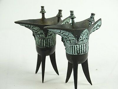 Matched Pair of Shang Dynasty Style Bronze Ritual Wine Vessels Jue 20th Century