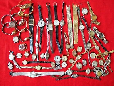 Job Lot Of 55 Vintage Watches 4 Spares Or Repairs Only