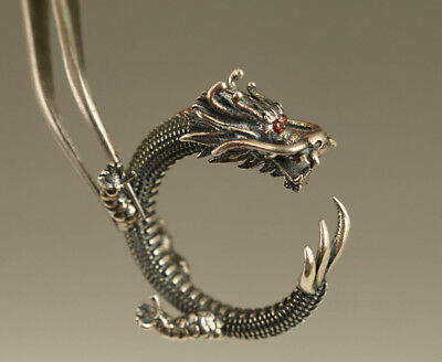Antique Fine Soild Silver Hand Carving Dragon Cool Ring Rare Adjustable Size