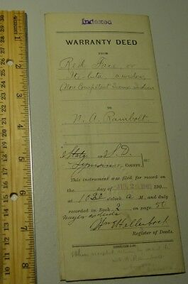 Antique SD 1909 Sioux Indian Red Face Land Deed Lyman County South Dakota