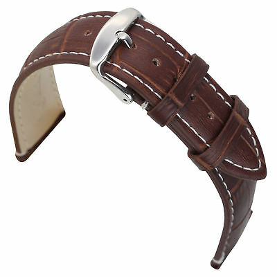 Mens Womens 18mm Brown Genuine Leather Watch Strap Replacement Wristwatches Band