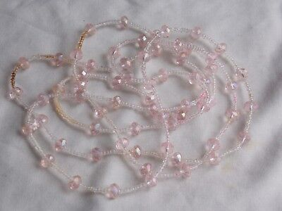 Long Preloved Pale Pink Glass Beaded Necklace