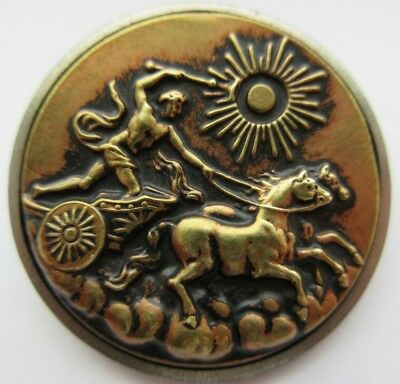 Exceptional XL Antique~ Vtg Victorian Metal Picture BUTTON Mythology Chariot (D)