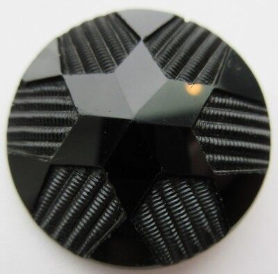 Beautiful LARGE Antique~ Vtg Victorian Black GLASS BUTTON 6- Point STAR (D)