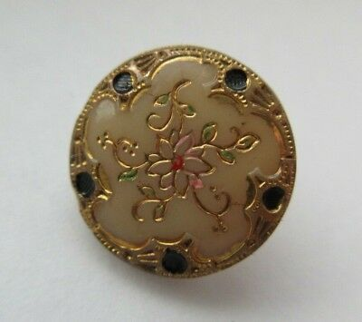 Lovely Antique~ Vtg Victorian Caramel Custard GLASS BUTTON Floral Design (D)