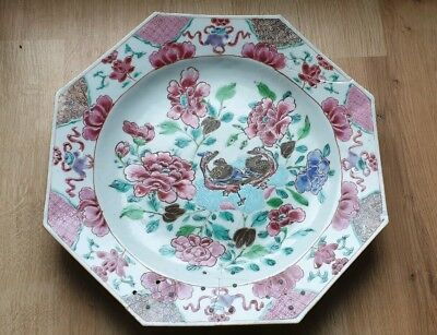 Large antique 18th century Chinese Famille Rose porcelain plate. Riveted A/F
