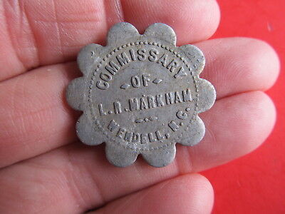 Vintage Aluminum Token Good for 25 cents MDSE Commissary LR Markham Wendell N.C.
