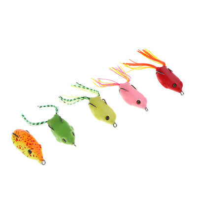 5x Topwater Frog Lures Soft Fishing Lure Weedless Design Bass Pike Snakehead