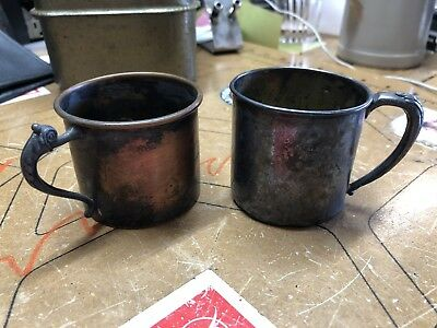 Two Antique Vintage Baby Cups, Silver Plated, Circa 1920's