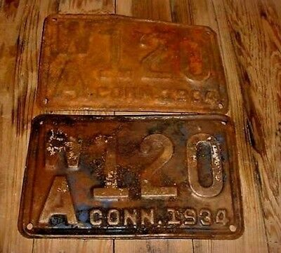 Pair Conn. Connecticut License Plates 1934 W A 120 As Discovered