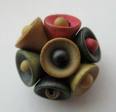 "Fantastic Very Unique Antique~ Vtg Carved WOOD BUTTON Beaded- So Fun! 3/4"" (E)"