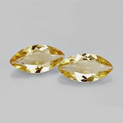 10x5mm Marquise Cut Pair of Natural Citrine Loose Calibrated Gemstone Brazil