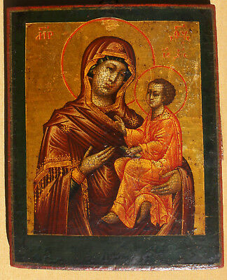Antique  Russian icon TIKHVINSKAYA, on gold, 19th century- CONDITION,17.5x15cm
