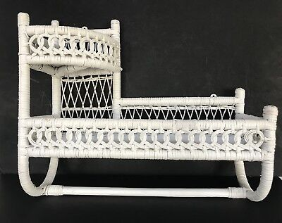 Vintage White Wicker 2-Tier Wall Shelf Towel Holder Ornamental Nice!