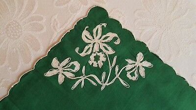 Vintage Lovely White on Green Traced Embroidered Orchid Hankie Handkerchief