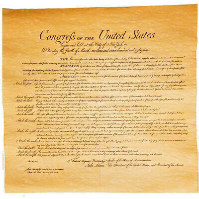 Bill of Rights Parchment Paper US History 23 x 29 inch Replica