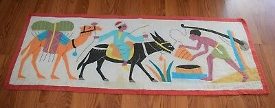 Antique EGYPTIAN REVIVAL 1920s Vintage Applique WALL HANGING Tapestry Embroidery