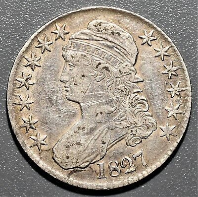 """1827 50C Capped Bust Half Dollar, Square Base """"2"""", Grade Xf,  Be1"""