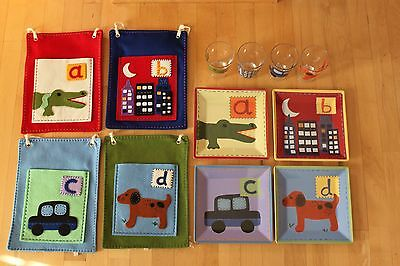 Pottery Barn Kids A - Z Melamine Plate Tumbler Placemat Dinner Dish Set Alphabet