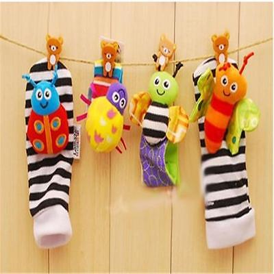 4pcs Baby Foot Wrist Rattle Socks Bracelet Set Toy Rattle Set  ON SALE CB