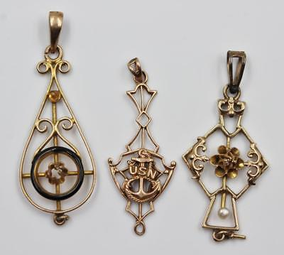 Antique Victorian Lot Of Three 10K Yellow Gold Lavalier Pendants -Need Stones-