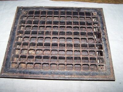 Vintage Rusty Metal Heat Air Register Wall Floor Grate Vent with Louvers 12 x 14