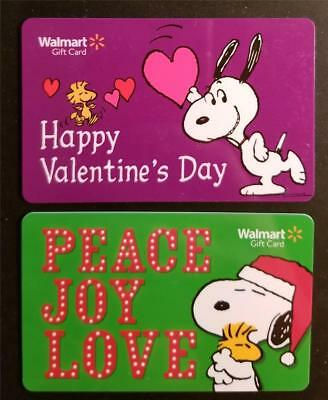 Walmart Gift Card SNOOPY Woodstock Lot NO VALUE Christmas Valentine's Day