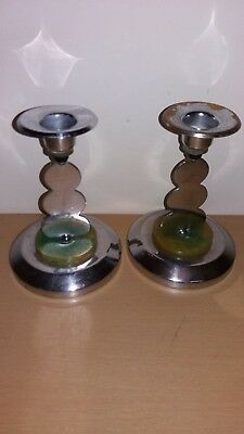 Antique Art Deco Pair of chromed metal Candle Sticks