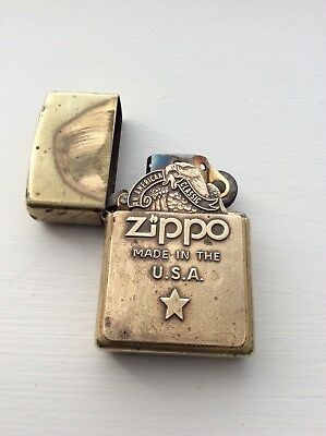 Solid Brass Zippo Lighter Xvi Antique Rare Vintage An American Classic Eagle