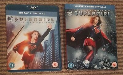 2 Blu-rays DC Supergirl complete Season 1 and 2 S1 S2 FREE P&P