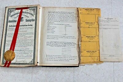 1912 Harvey Coal & Lumber Company Stock holders Ledger Incorporation Certificate