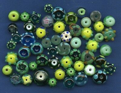 Lot of vintage glass beads - many green and hand blown 50 pcs