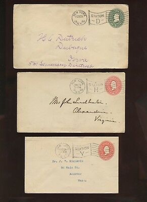 3 Great New York City Station Flag Cancels~Postal Stationery Covers~1900 & 1903