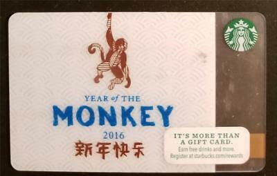 STARBUCKS 2016 Year of the Monkey Gift Card NO VALUE