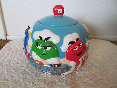 Vintage M&M Candy Dispenser 2002 Chef Bakery Colorful Cookie Jar Galerie EUC
