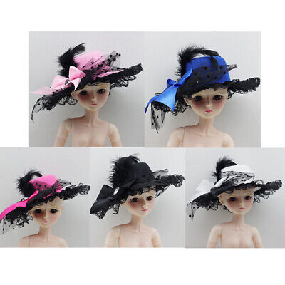 Fashion Lady Vintage Round Bowler Doll Hat Cap for 1/3 BJD Doll Clothes Accs