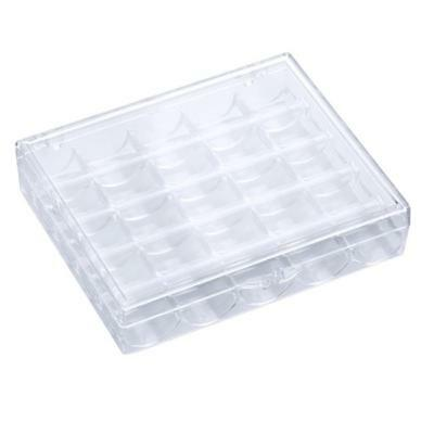 Clear Empty Sewing Machine 25 Spool Bobbin Case Organizer Storage Box ON SALE