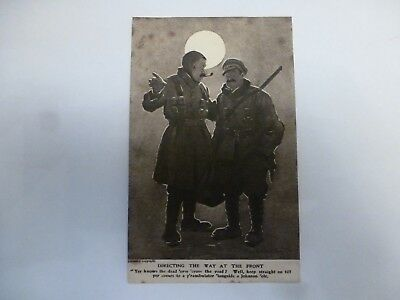 Vintage Postcard Directing The Way At The Front - Army (G)
