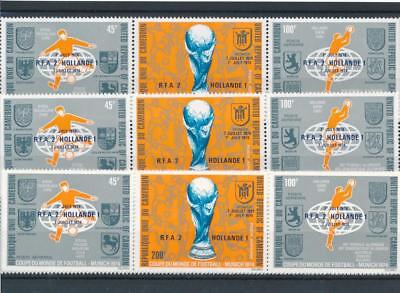 [109821] Cameroon 1974 Soccer 4x good Triptych very fine MNH Airmail Stamps