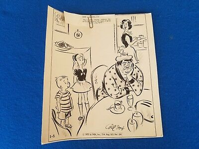 Original Comic Strip Art Gill Fox Cartoonist Side Glances 1972 Vintage L@@k