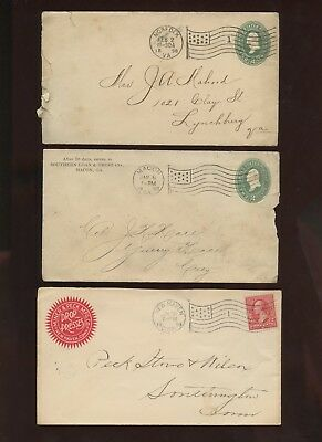 6 Misc City Flag Cancels~Postal Stationery~& Stamped Covers~1898 & 1899