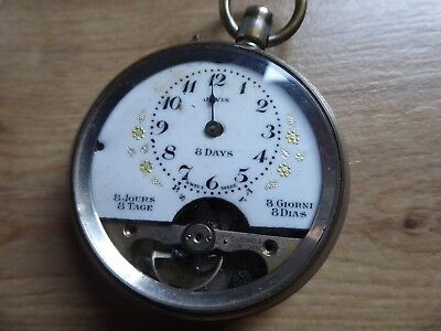 Good Antique 8 Day Hebdomas Style  Gents Pocket Watch